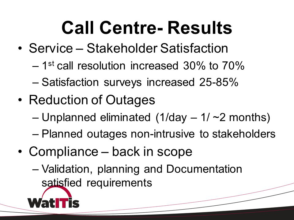 Call Centre- Results Service – Stakeholder Satisfaction