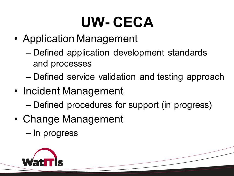 UW- CECA Application Management Incident Management Change Management