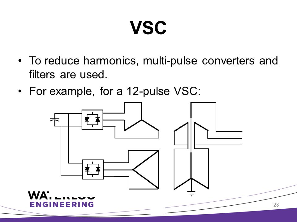 VSC To reduce harmonics, multi-pulse converters and filters are used.