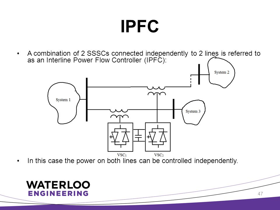 IPFC A combination of 2 SSSCs connected independently to 2 lines is referred to as an Interline Power Flow Controller (IPFC):