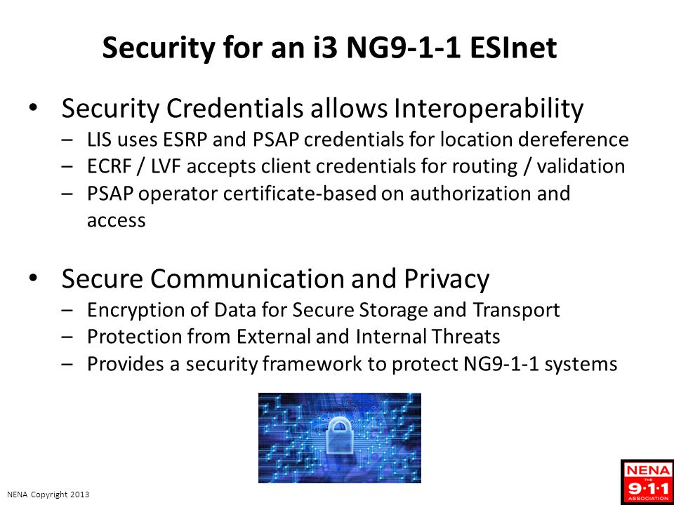 Security for an i3 NG9-1-1 ESInet