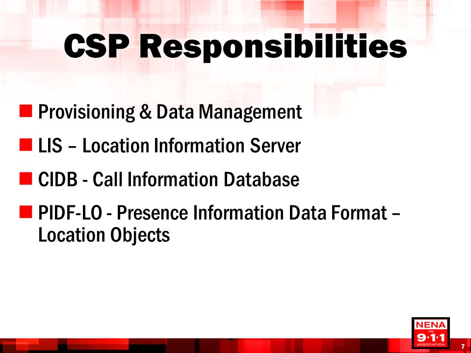 CSP Responsibilities Provisioning & Data Management