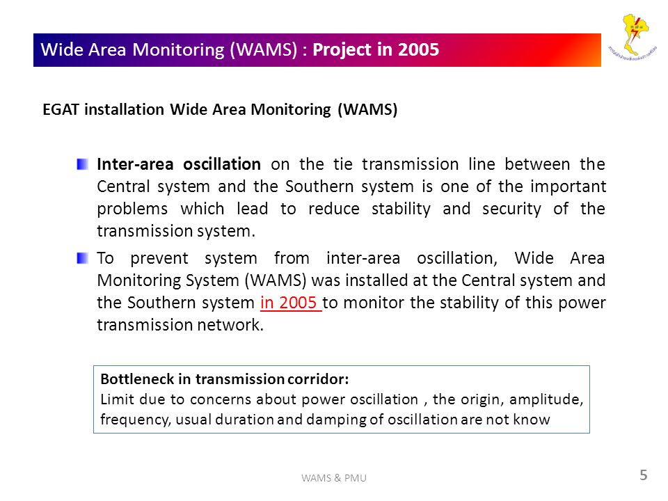 Wide Area Monitoring (WAMS) : Project in 2005