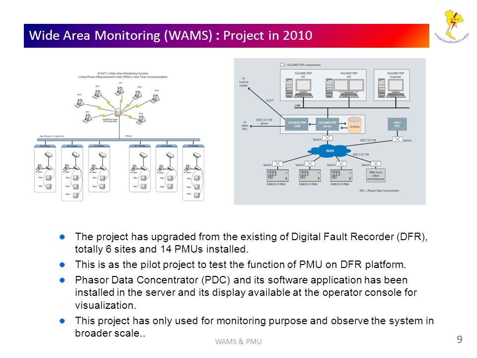 Wide Area Monitoring (WAMS) : Project in 2010