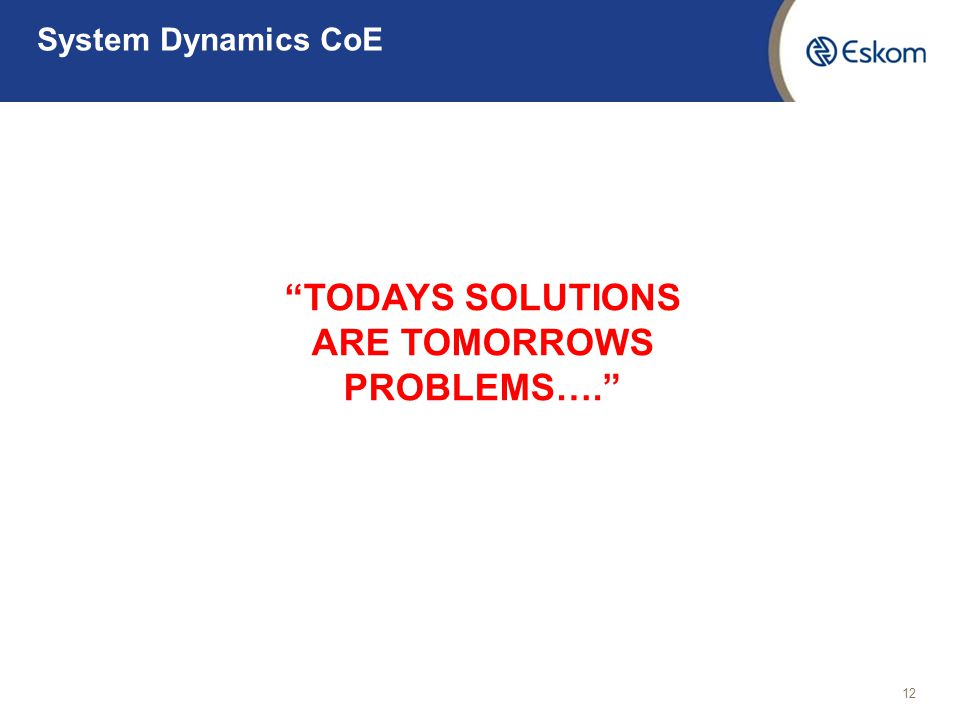 TODAYS SOLUTIONS ARE TOMORROWS PROBLEMS….