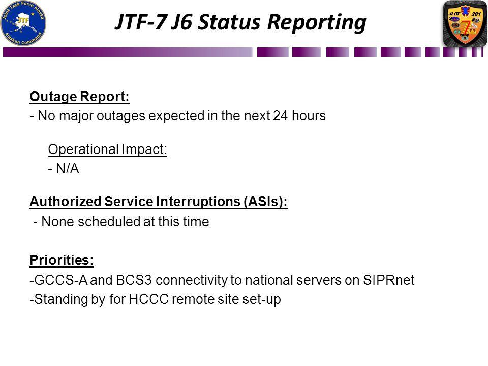 JTF-7 J6 Status Reporting