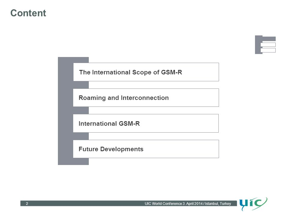 Content The International Scope of GSM-R Roaming and Interconnection