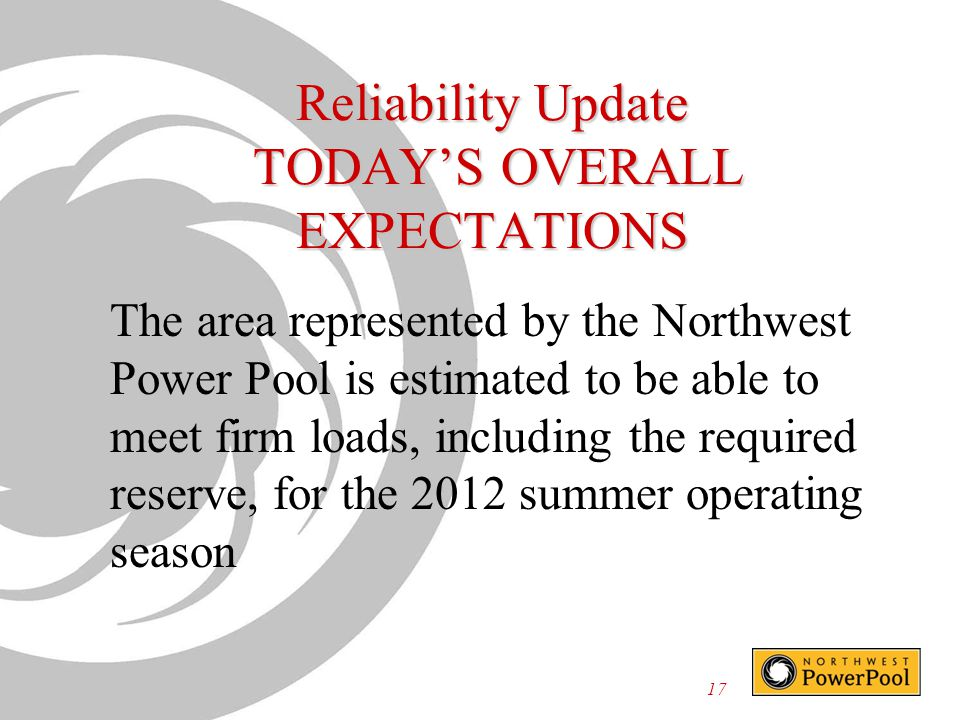 Reliability Update TODAY'S OVERALL EXPECTATIONS