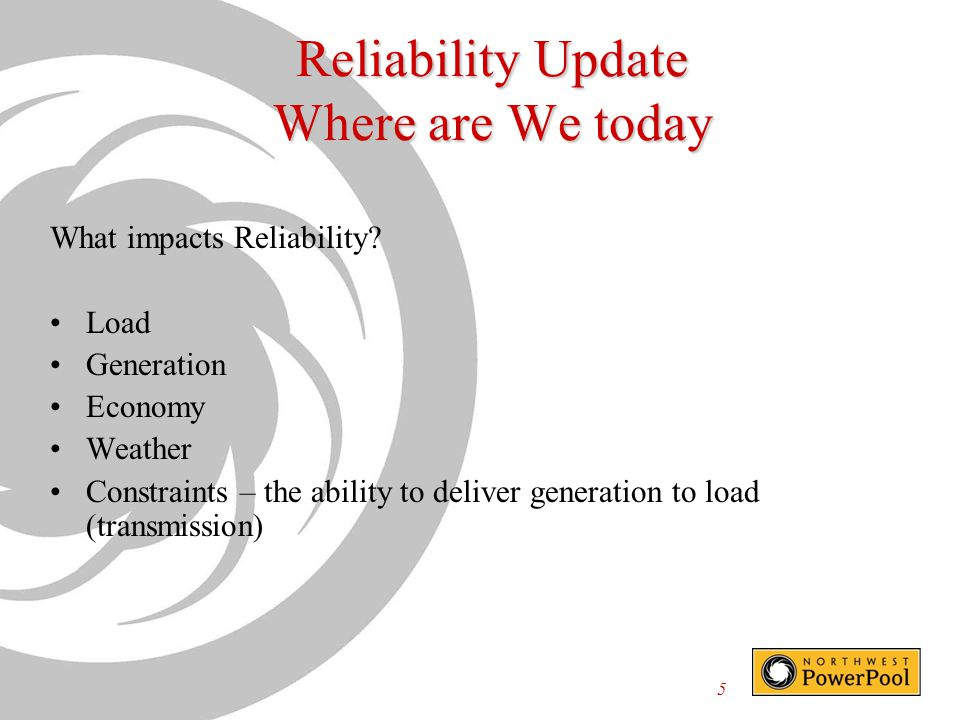 Reliability Update Where are We today