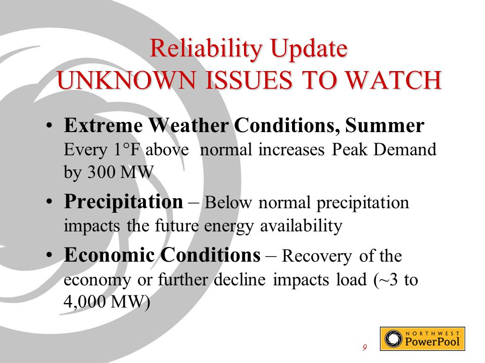Reliability Update UNKNOWN ISSUES TO WATCH