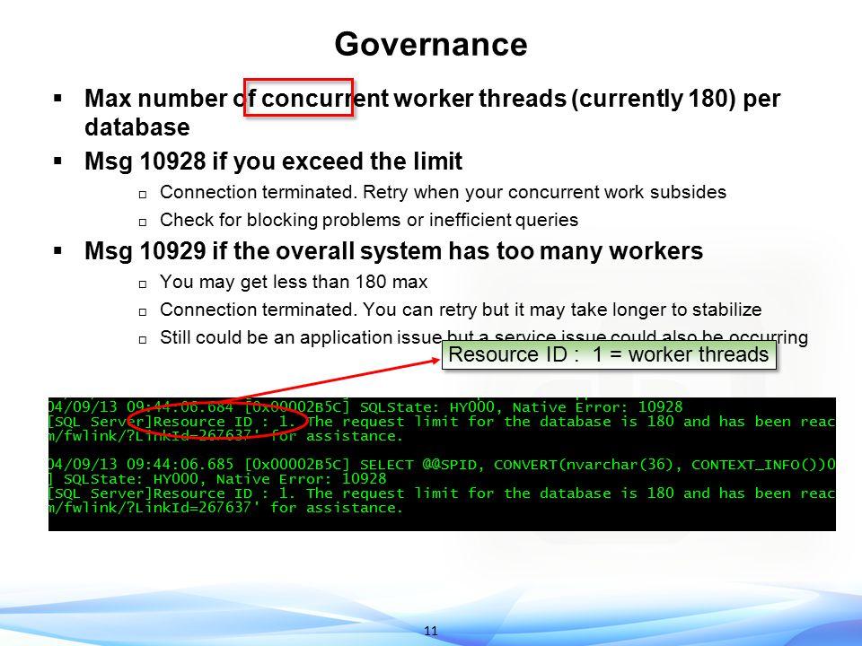 Resource ID : 1 = worker threads