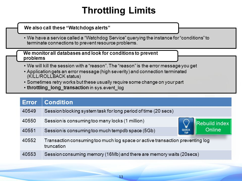 Throttling Limits Error Condition Rebuild index Online 40549