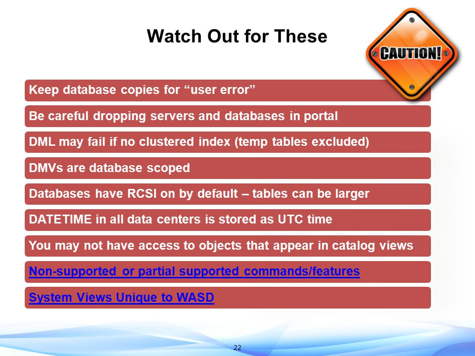 Watch Out for These 2 mins Keep database copies for user error