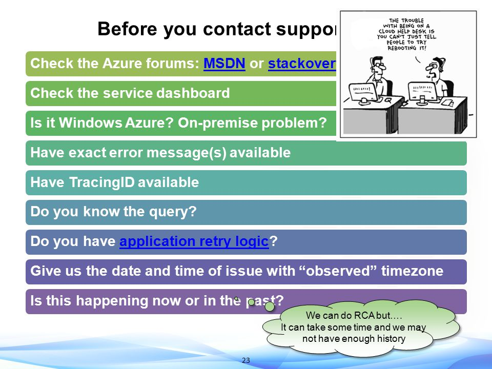 Before you contact support