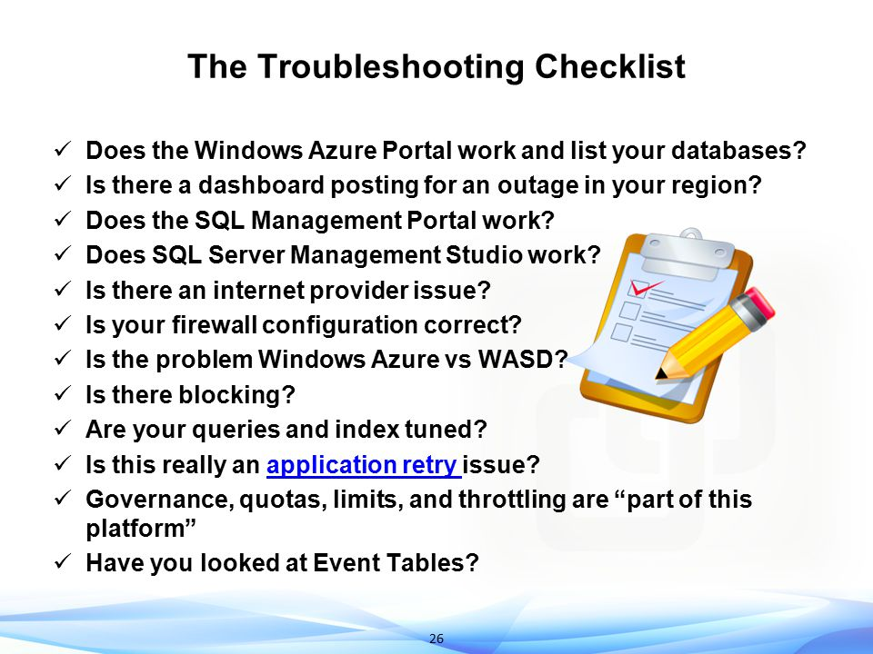The Troubleshooting Checklist