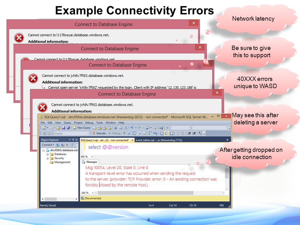 Example Connectivity Errors