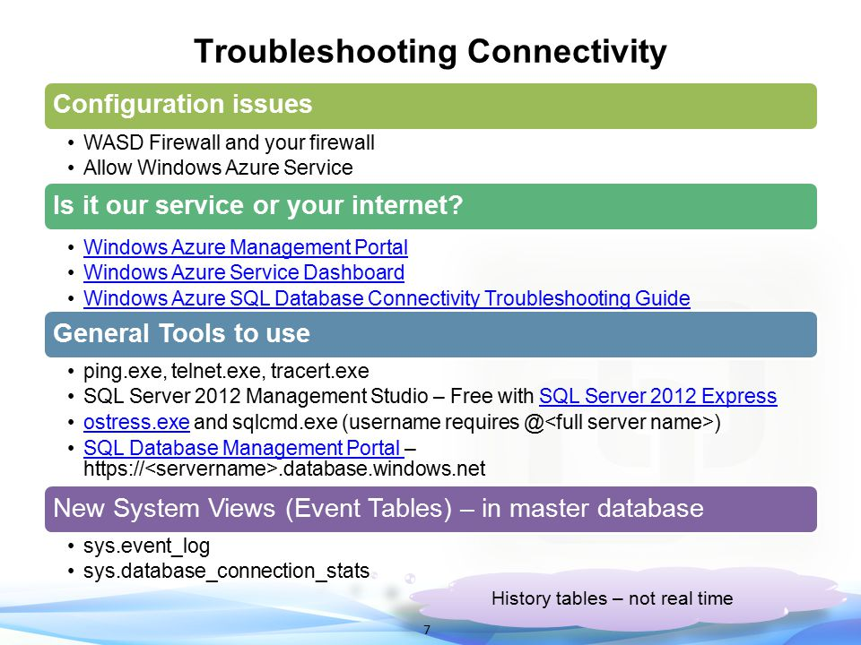 Troubleshooting Connectivity