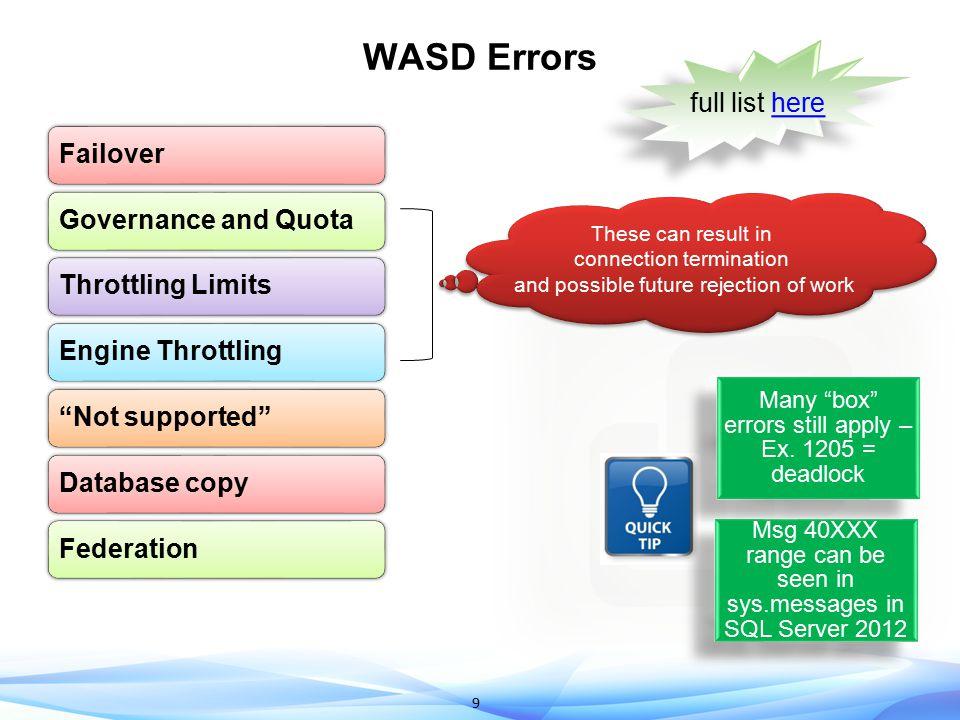 WASD Errors full list here Failover Governance and Quota
