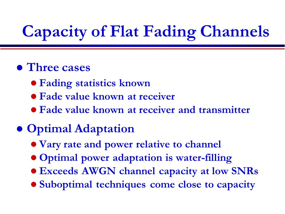Capacity of Flat Fading Channels
