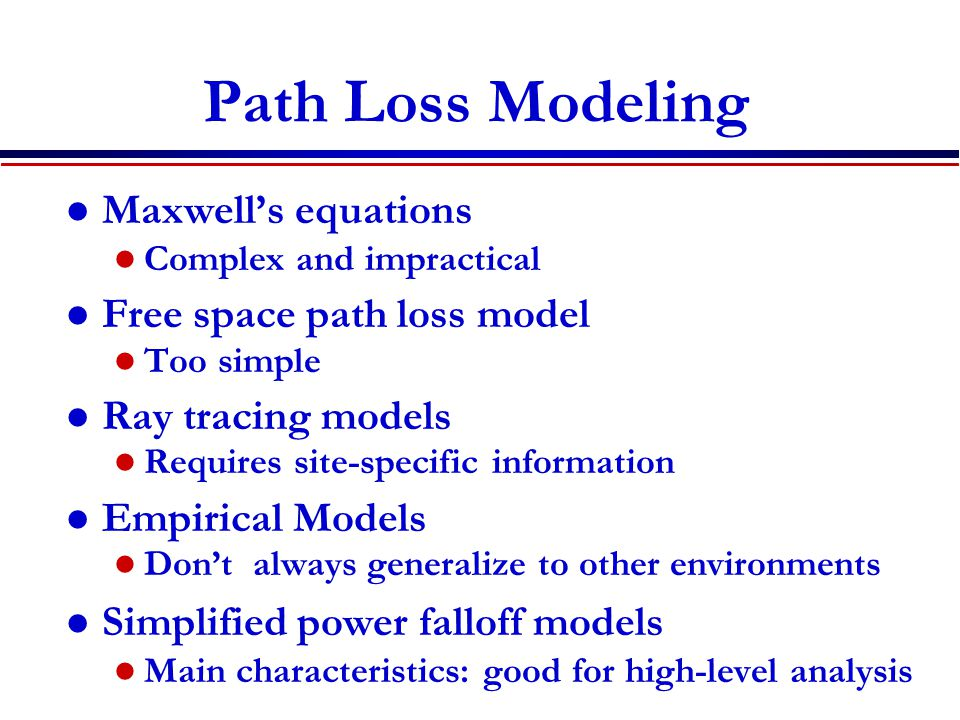 Path Loss Modeling Maxwell's equations Free space path loss model