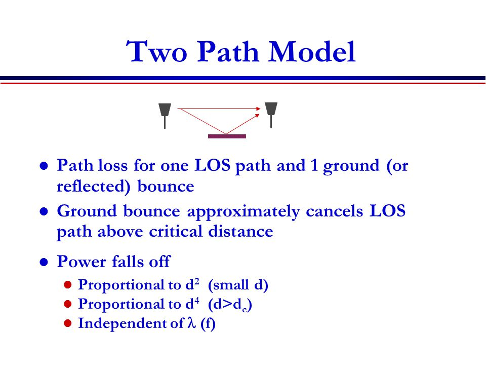 Two Path Model Path loss for one LOS path and 1 ground (or reflected) bounce. Ground bounce approximately cancels LOS path above critical distance.