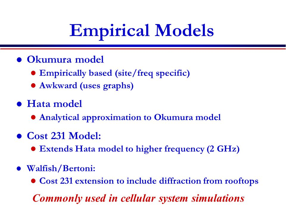 Empirical Models Okumura model Hata model Cost 231 Model: