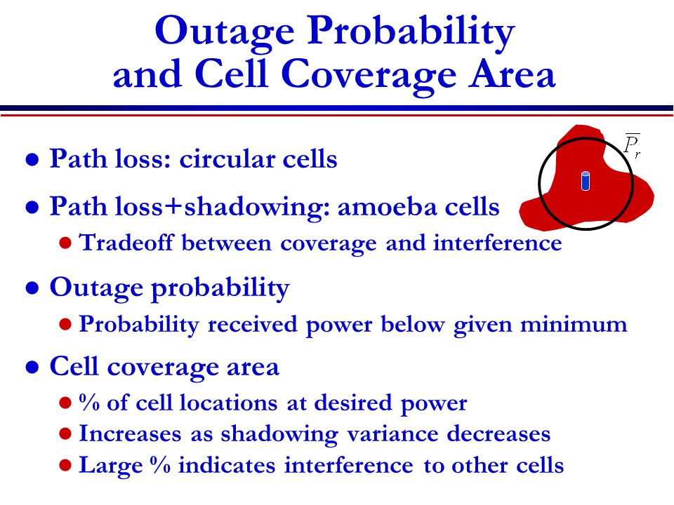 Outage Probability and Cell Coverage Area