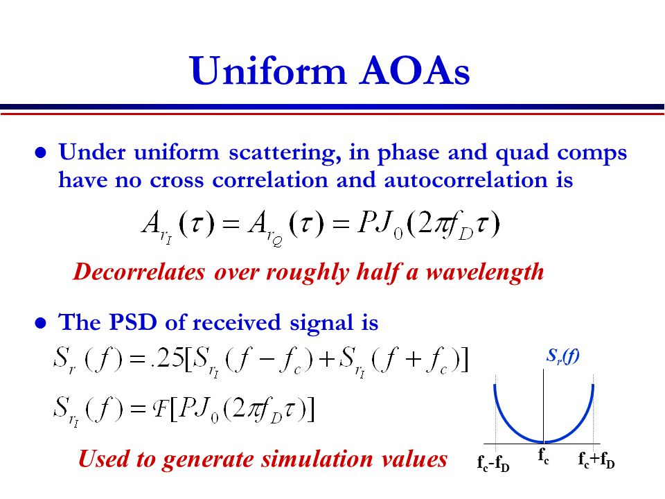 Uniform AOAs Under uniform scattering, in phase and quad comps have no cross correlation and autocorrelation is.