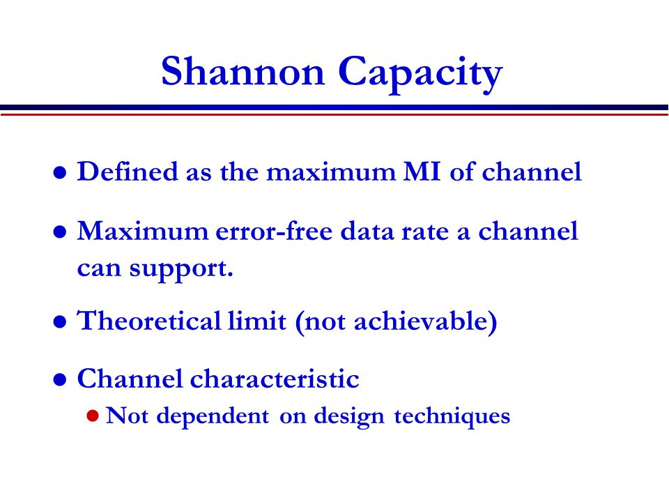 Shannon Capacity Defined as the maximum MI of channel