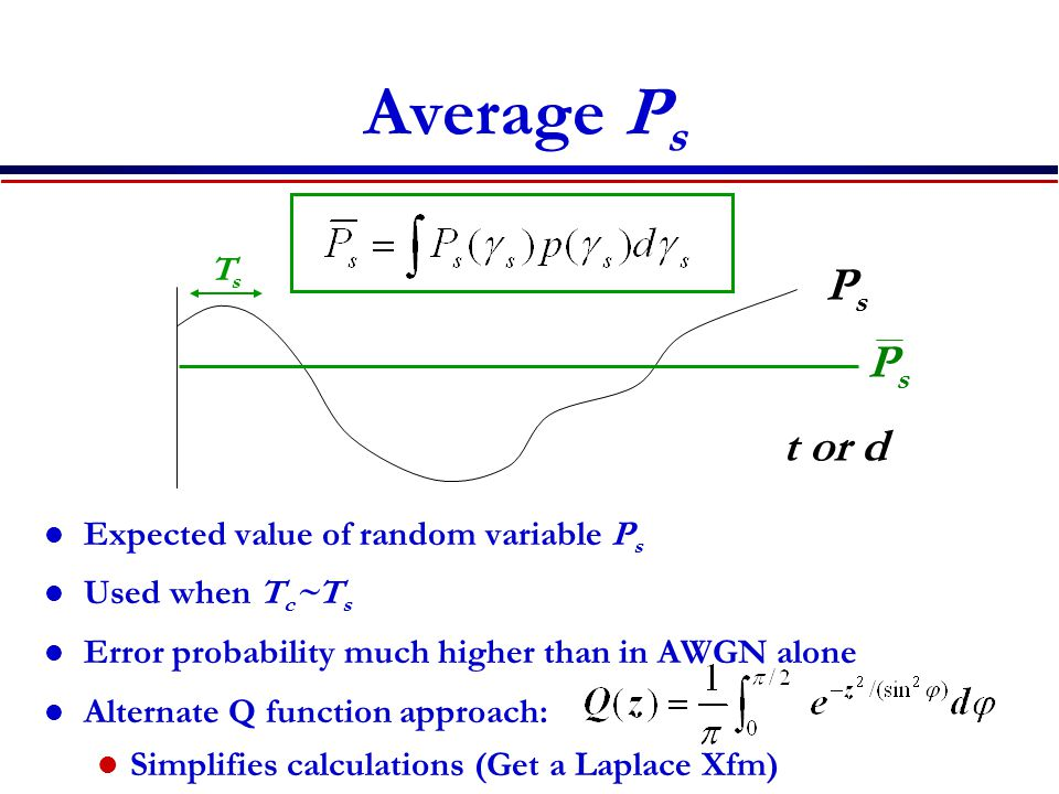 Average Ps Ps Ps t or d Ts Expected value of random variable Ps