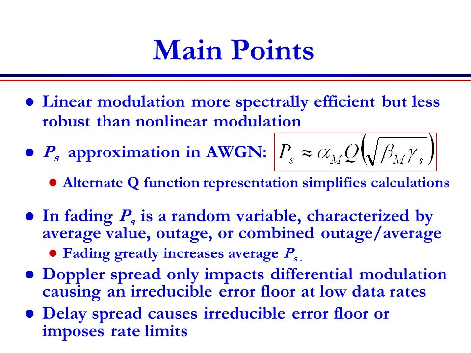 Main Points Linear modulation more spectrally efficient but less robust than nonlinear modulation. Ps approximation in AWGN: