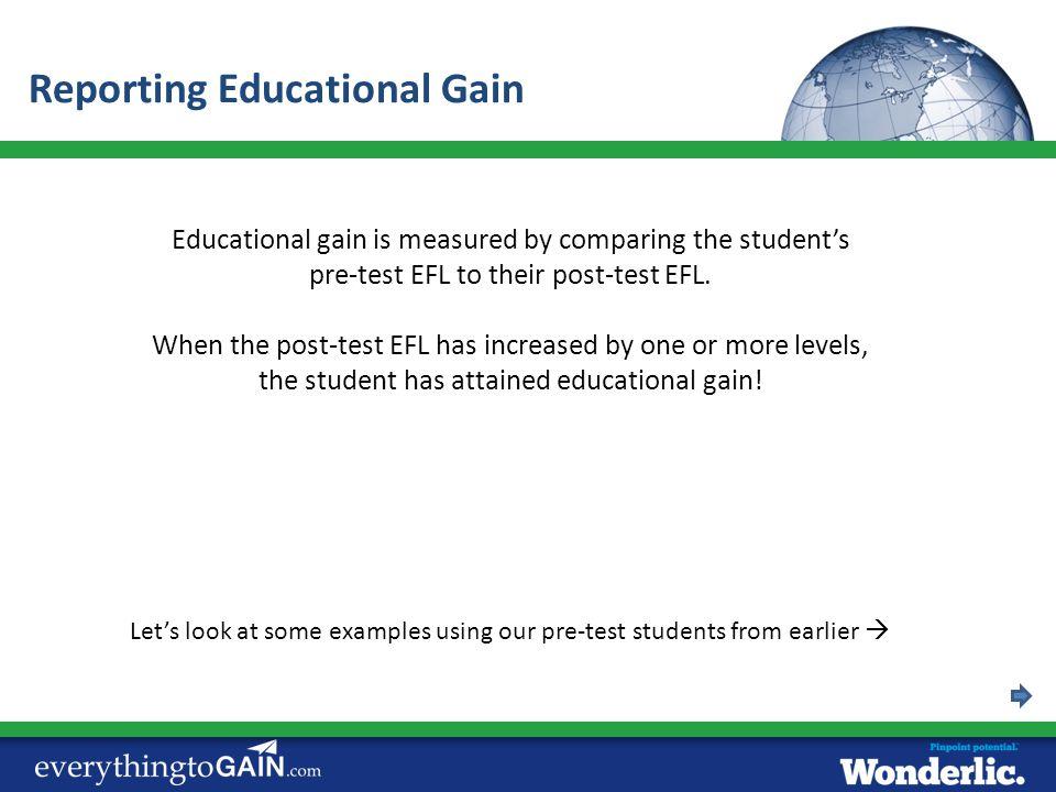 Reporting Educational Gain
