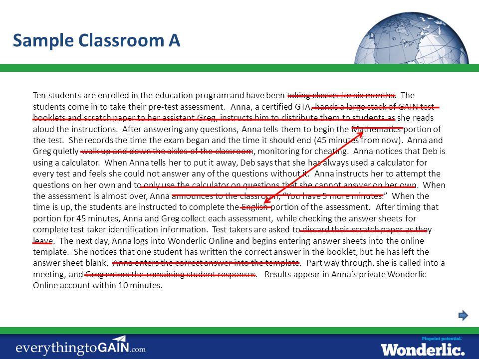 Sample Classroom A