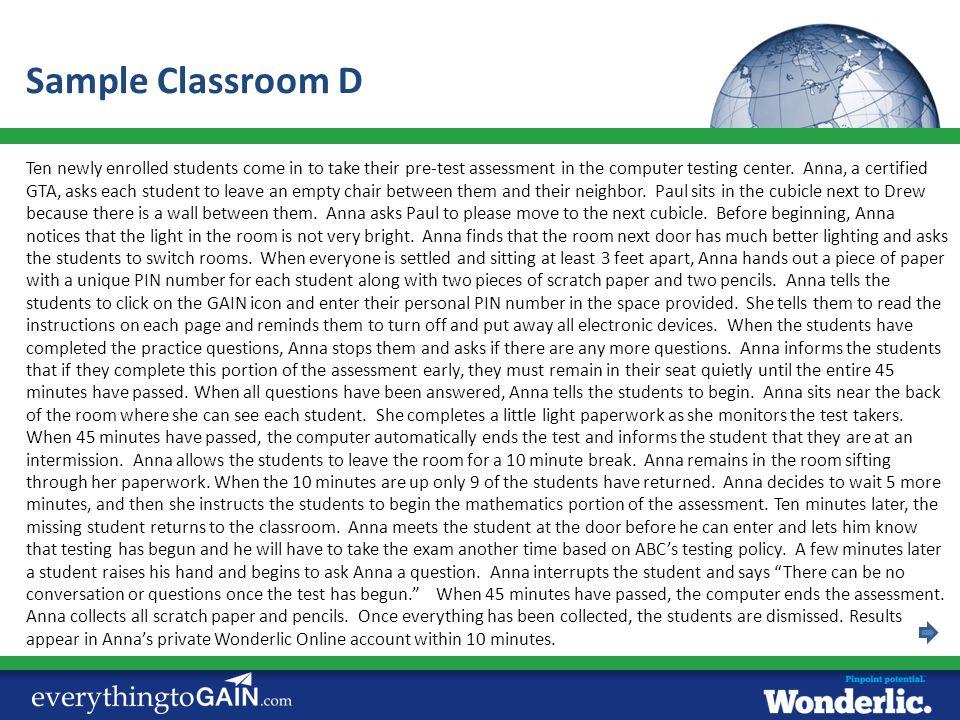 Sample Classroom D