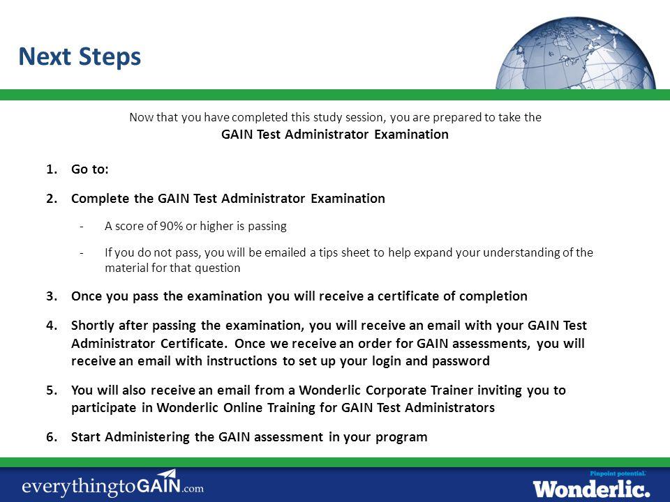 GAIN Test Administrator Examination