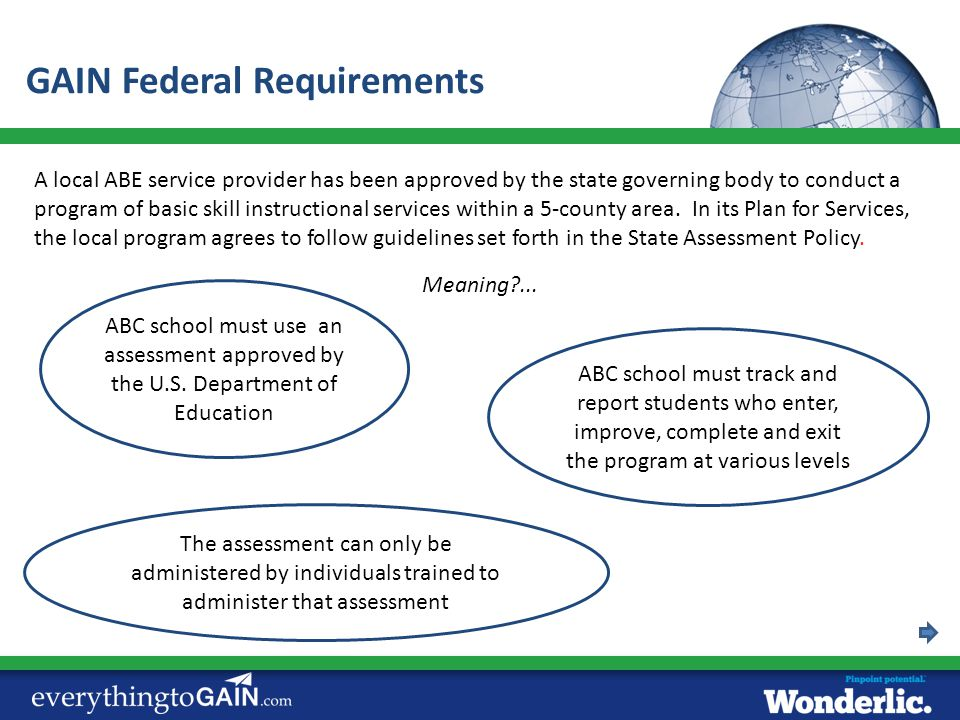 GAIN Federal Requirements
