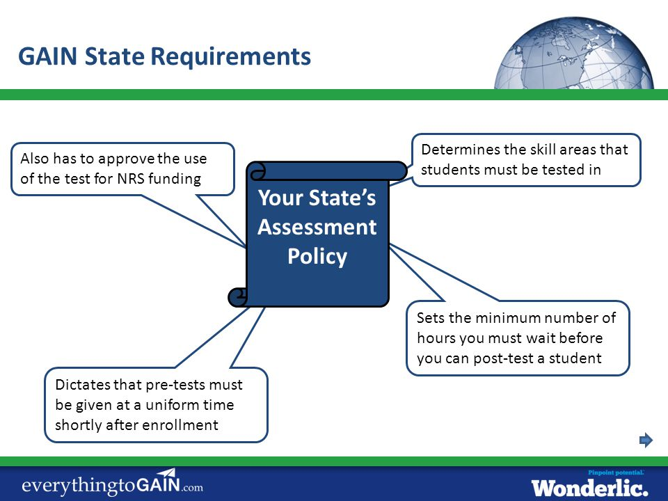 GAIN State Requirements