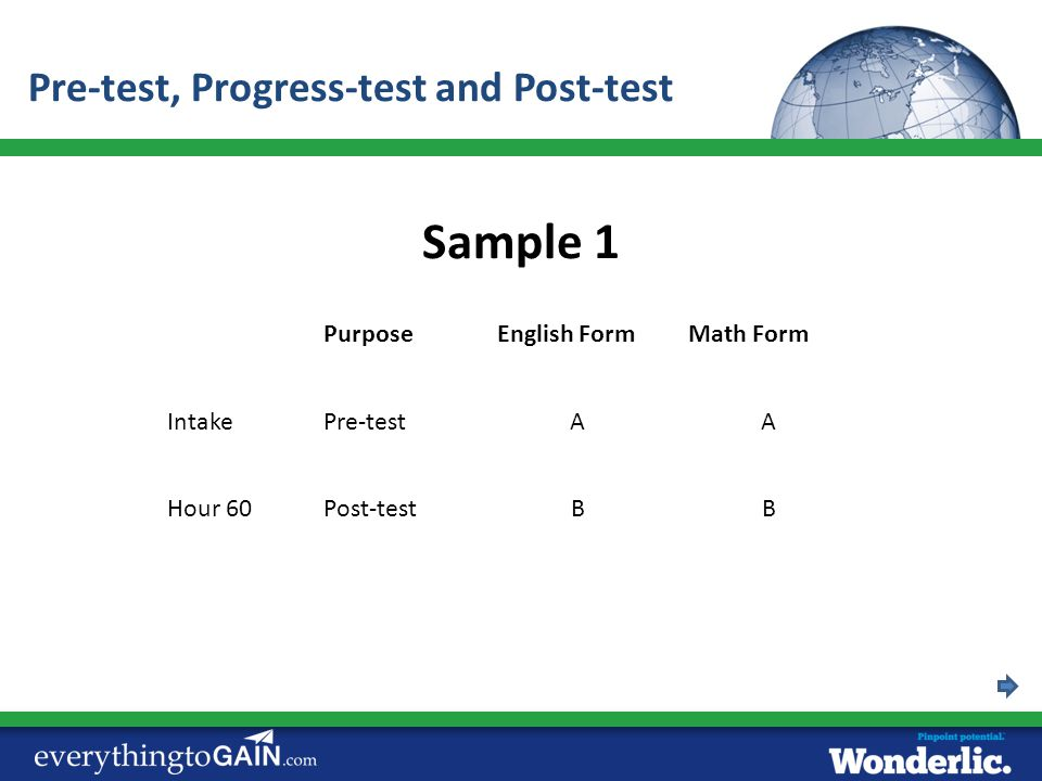Sample 1 Pre-test, Progress-test and Post-test Purpose English Form