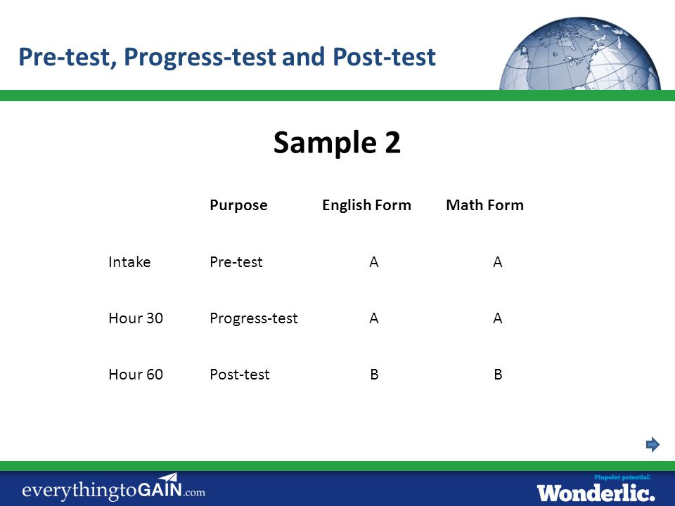 Sample 2 Pre-test, Progress-test and Post-test Purpose English Form