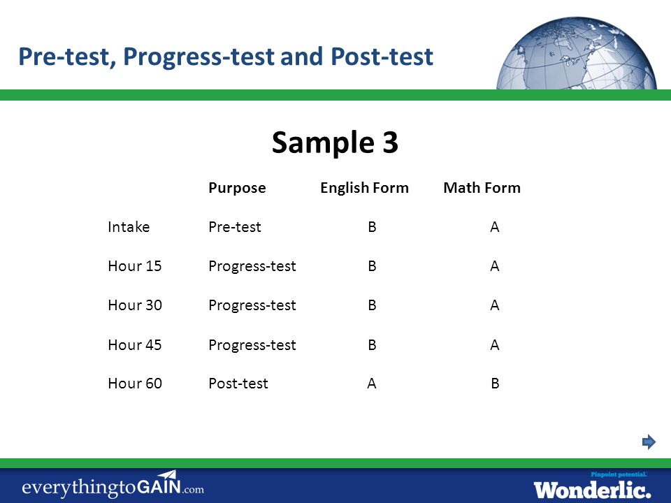 Sample 3 Pre-test, Progress-test and Post-test Purpose English Form