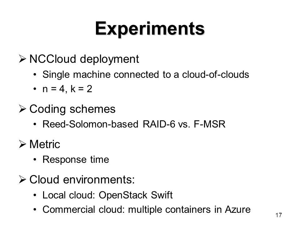 Experiments NCCloud deployment Coding schemes Metric