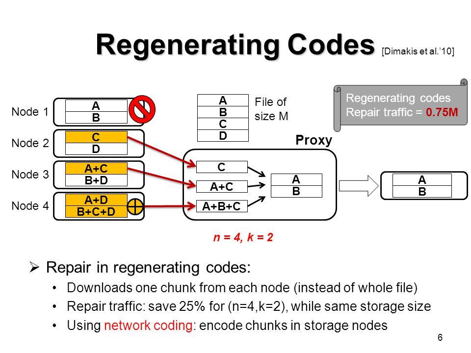 Regenerating Codes Repair in regenerating codes: Proxy