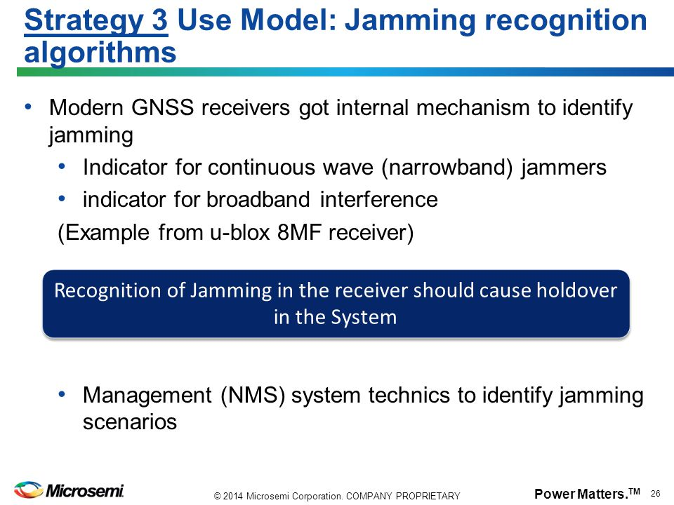 Strategy 3 Use Model: Jamming recognition algorithms