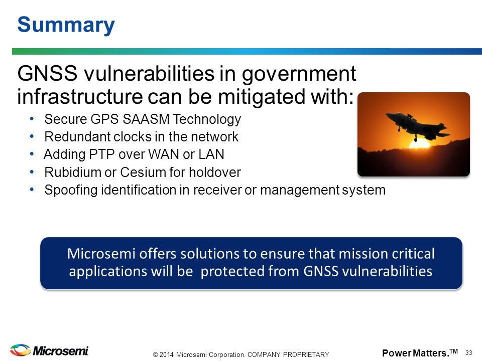 Summary GNSS vulnerabilities in government infrastructure can be mitigated with: Secure GPS SAASM Technology.