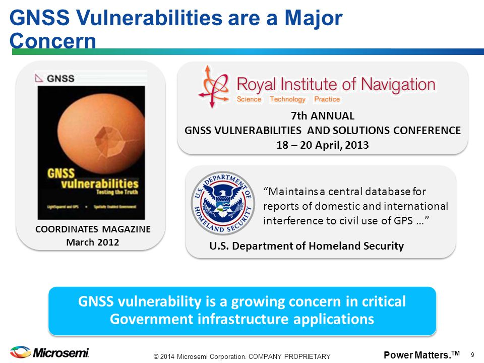 GNSS Vulnerabilities are a Major Concern