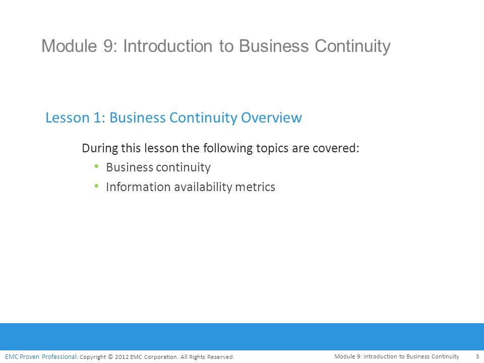Module 9: Introduction to Business Continuity