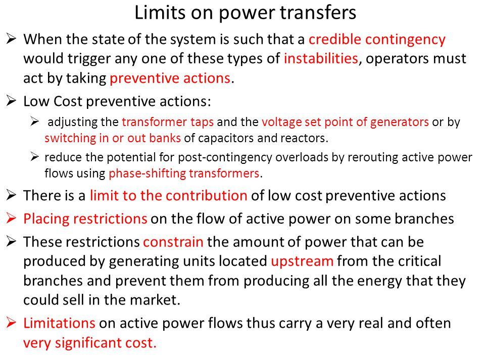 Limits on power transfers