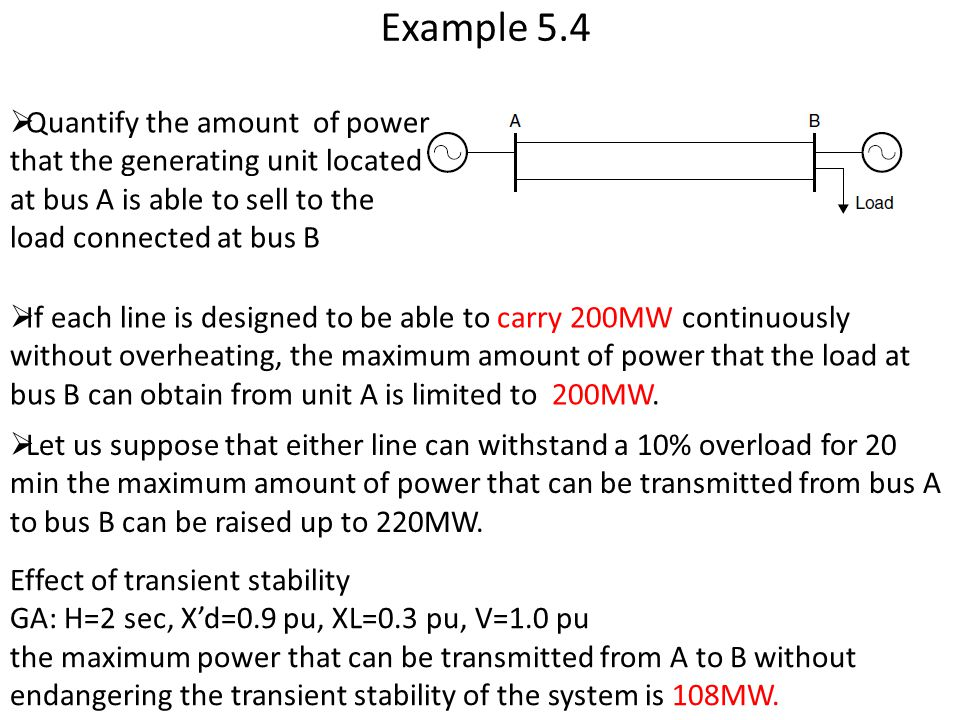Example 5.4 Quantify the amount of power that the generating unit located at bus A is able to sell to the load connected at bus B.