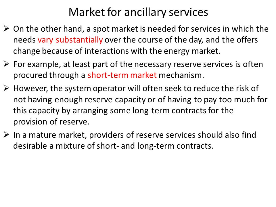 Market for ancillary services