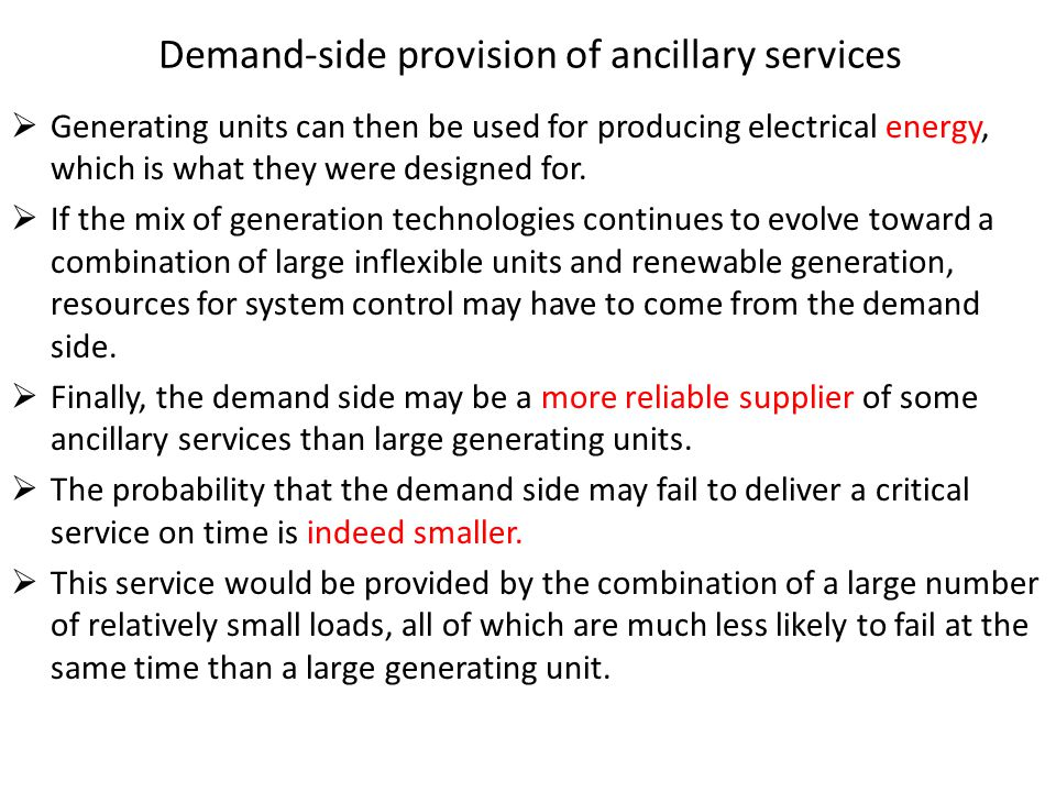 Demand-side provision of ancillary services